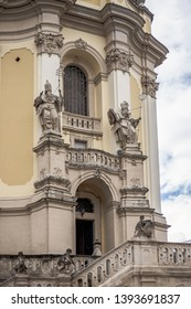 Close-up of Archicatedral Cathedral of Saint Jura, Lviv, Ukraine. Ancient building in details