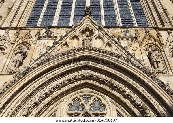 Close-up of the architectural detail of the historic York Minster in the city of York, England.