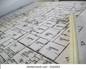 Closeup of architectural drawings for an elementary school