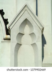 Closeup architectural elements of the Huguenot Church in Charleston, South Carolina
