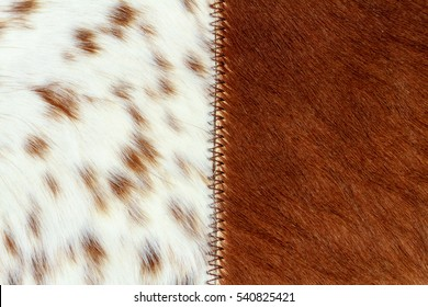 Close-up of an Argentinean handicraft sewn with cow and deer hide with hair
