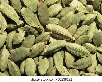 closeup of aromatic cardamon pods