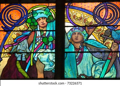 Close-up of the Art Nouveau stained glass window by Alfons Mucha, St. Vitus Cathedral, Prague
