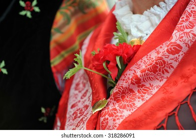Closeup of an artificial carnation flower pinned to a traditional Slovenian folk costume.