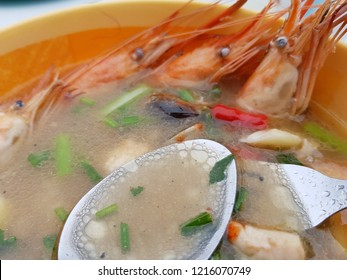 Close-up of aseafood tomyam soup
