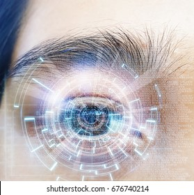 close-up Asian eyes with Information Technology Virtual Futuristic background.
