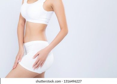 Closeup asian woman beautiful body diet with fit isolated on white background, model girl weight slim with cellulite or calories, health and wellness concept.