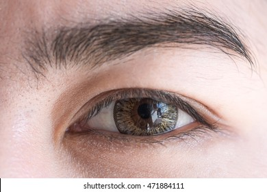 Close-up of asian woman's eye with contact lens