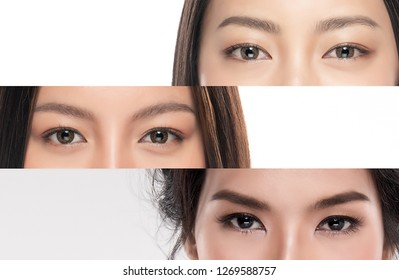 Close-up Asian Women's eyes on White Blackground