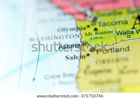 Closeup Astoria Oregon On Political Map Stock Photo Edit Now