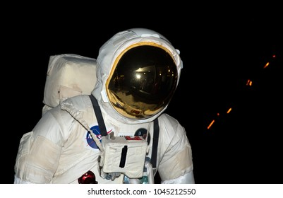 Close-up of an astronaut in a space suit.