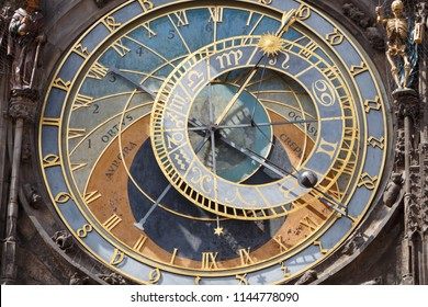 Close-up of the astronomical clock on a wall of the ancient town hall in Prague