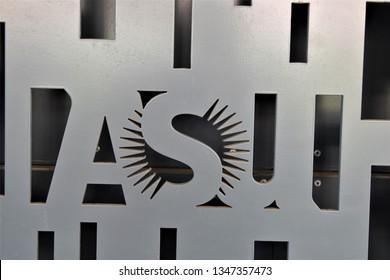 Closeup of ASU metal sign at Arizona State University Tempe Arizona 3/16/19