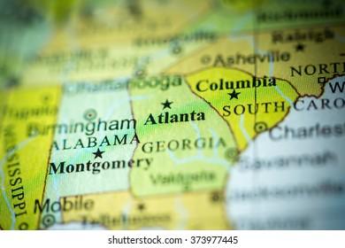 Closeup of Atlanta, Georgia on a political map of USA.