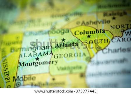 Atlanta Political Map.Closeup Atlanta Georgia On Political Map Stock Photo Edit Now