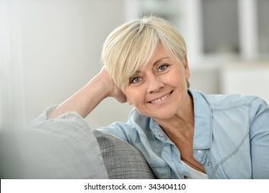 Closeup of attractive senior woman