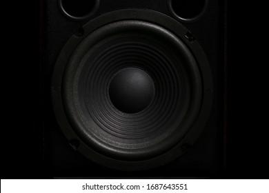 Close-up of audio loudspeaker, Musical equipment, professional hi-fi speaker box.