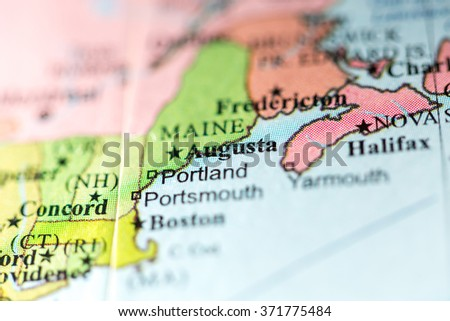 Closeup Augusta Maine On Political Map Stock Photo Edit Now