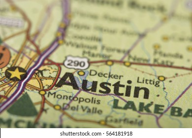 Closeup of Austin, Texas on a political map of the United States.
