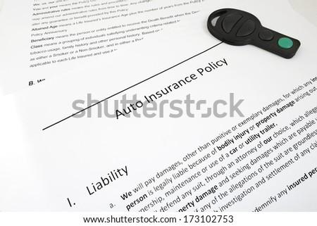 Closeup Auto Insurance Policy Car Key Stock Photo Edit Now