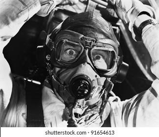 Closeup of aviator in mask