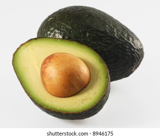 Close-up of avocado half with the seed
