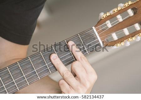 Closeup B Major Chord Played On Stock Photo (Edit Now) 582134437 ...