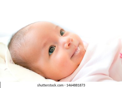 close-up baby face and saliva in mouth