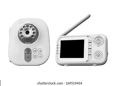The closeup baby monitor for security of the baby on a white background