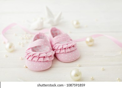 close-up of baby shoes, baby  shower decoration