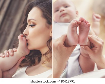Close-up of baby's hands and feet collage. Mother holding baby. Baby's feet. collage newborn. baby in mom's hands. Mother and baby. Collage. Four pictures. Series. Mother kissing baby