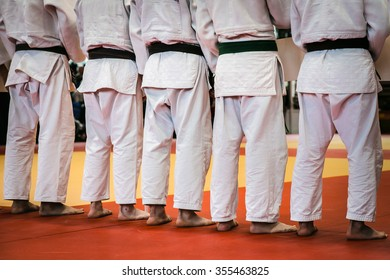 closeup back group athletes of judoists standing tatami for judo