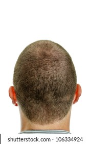 Closeup of the back of mans head. Isolated on white.