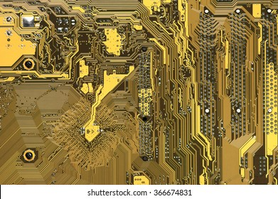 Close-up of back side circuit board yellow pattern. Top view point.