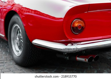 close-up of the back of a vintage red sports car