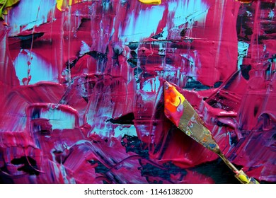 Closeup background of palette with palette knife