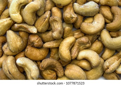Closeup of a Background of Scattered Cashews