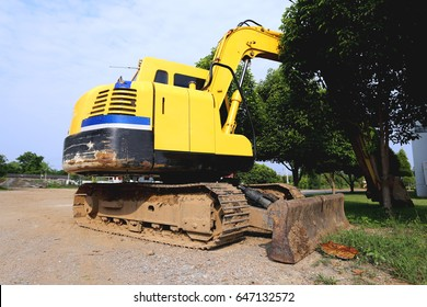 closeup backhoe standby waiting excavation of soil piling work