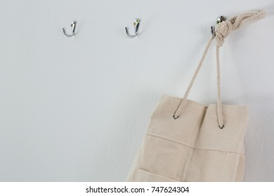 Close-up of bag hanging on hook
