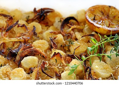 closeup of baked salsify