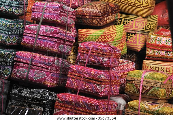 Close-up of Balinese woven baskets