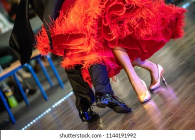 closeup of ballroom dancers legs