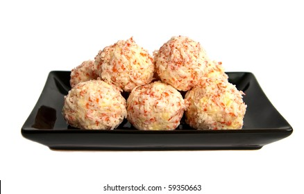 close-up balls made of cheese and crabs, isolated on white background