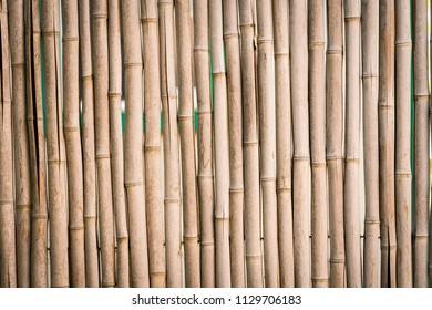Closeup of bamboo stick fence background