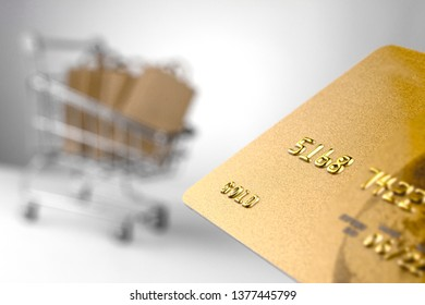 close-up of a bank card against the background of a shopping cart with shopping bags. online cheap shopping concept
