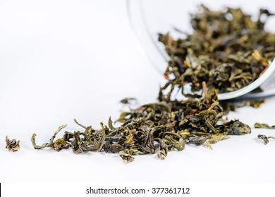 closeup of Bao Zhong Oolong Tea isolated on white background