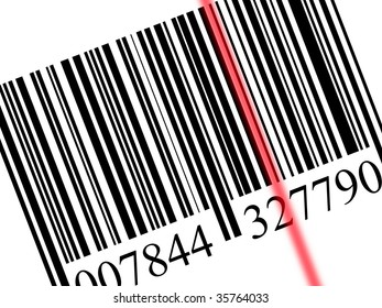 closeup of a bar code isolated on white background