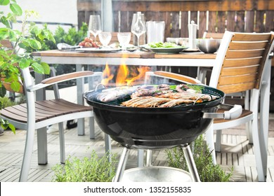 Close-up of barbecue place in the garden  or balcony