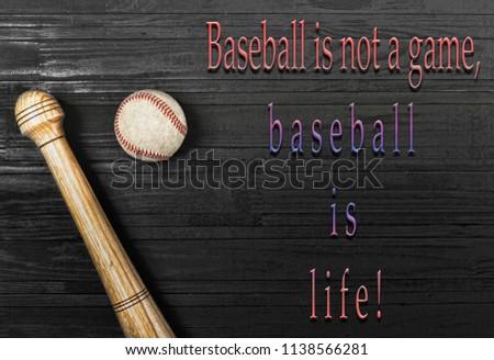 Closeup Baseball Bat Ball On Wooden Stock Photo Edit Now