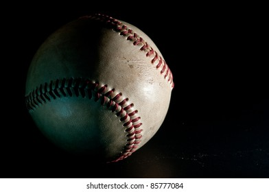 closeup baseball with Black background